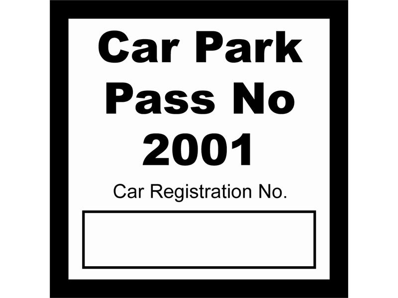Car Park Pass Window Stickers