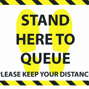 Stand here to queue covid floor sticker
